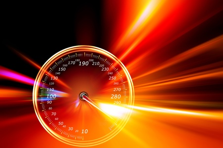 acceleration speedometer on night road Stock Photo - 11542014