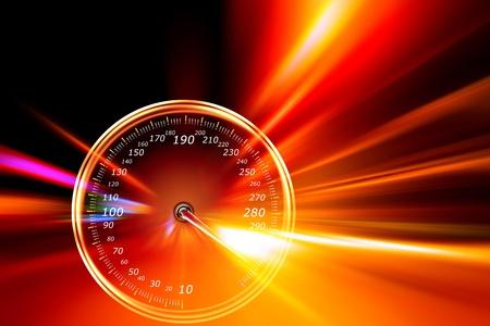 compteur de vitesse: compteur de vitesse d'acc�l�ration sur la route de nuit