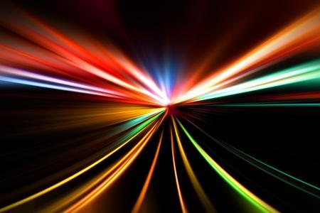 rapid race of night highway photo