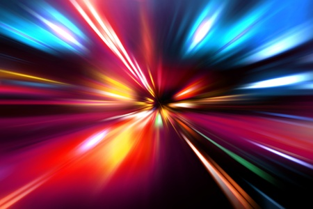 abstract zoom: speed motion on night road