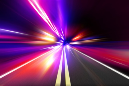 speed motion on night road Stock Photo - 12331357