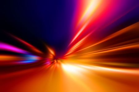 motion: acceleration speed motion on night road Stock Photo
