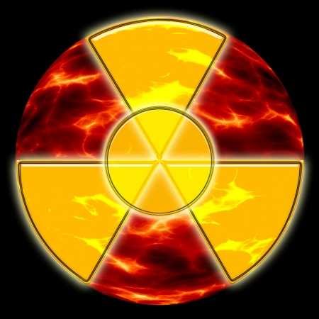 radiation hazard sign on the background of ecological disaster Stock Photo - 14788949