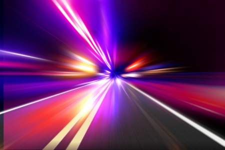 speed motion on night road Stock Photo - 14933136