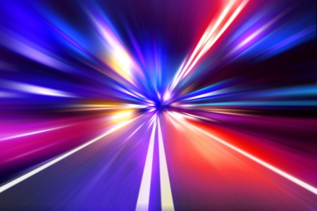 speed motion on night road Stock Photo - 15817034