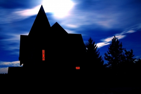 full house: Halloween house against a cloudy sky Moon