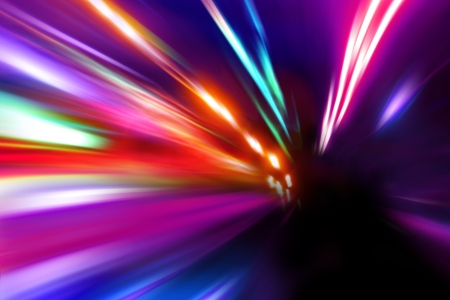 acceleration speed motion on night street Standard-Bild