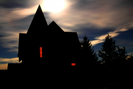Halloween house against a cloudy sky Moon photo
