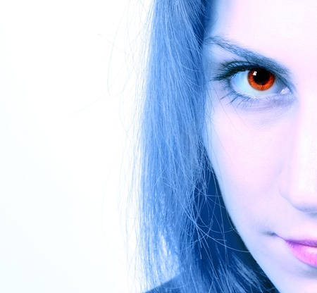 Cropped image of a woman's gaze on a white background Stock Photo - 17033385