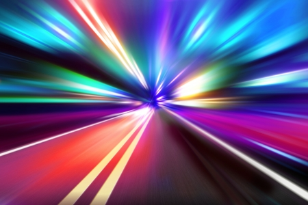 speed motion on night road Stock Photo - 17033396