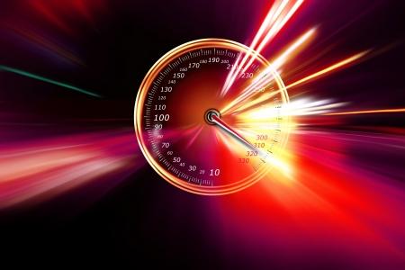 compteur de vitesse: vitesse excessive sur le compteur de vitesse Banque d'images