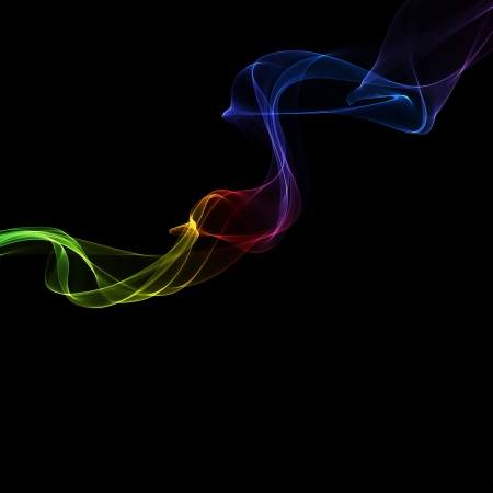 variegated: abstract colorful smoke waves on a black background