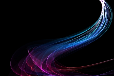 abstract colorful twisted waves on a black background Stock Photo
