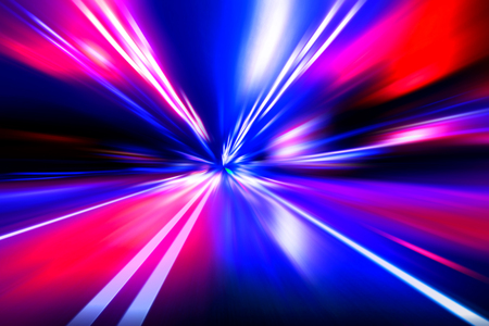 night road: red blue acceleration speed motion on night road Stock Photo
