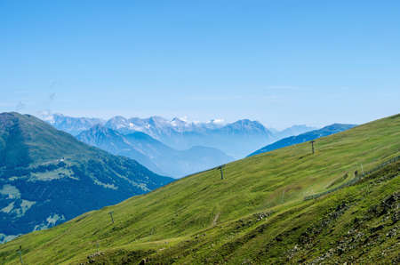 top mountain: Panoramic view from mountain top to valley in Serfaus, Fiss, Ladis area in Tyrol, Austria