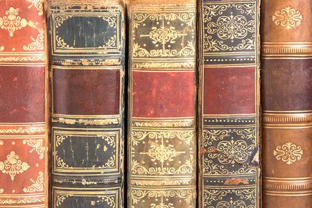hardback: Old leather bound book spines  Stock Photo