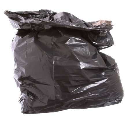 black plastic garbage bag: Black garbage bag