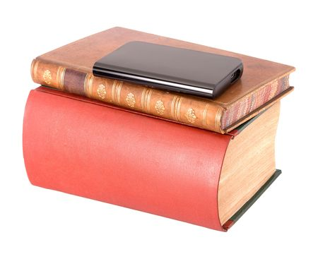 hard drive: Old leather bound books and hard drive Stock Photo