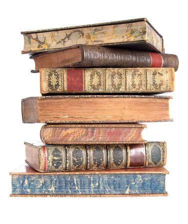 pile papier: Pile de vieux livres reli�s en cuir