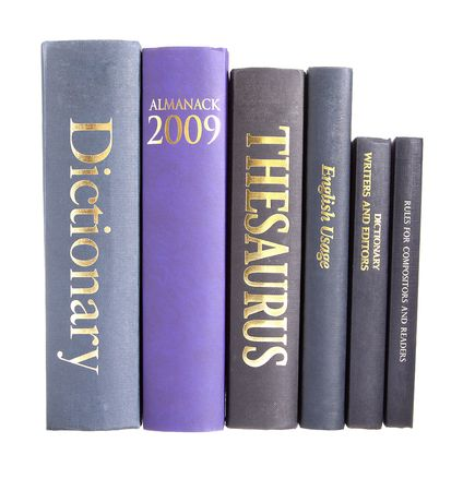 thesaurus: Row of reference books