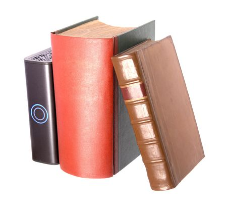 hardback: Old leather bound books and hard drive Stock Photo