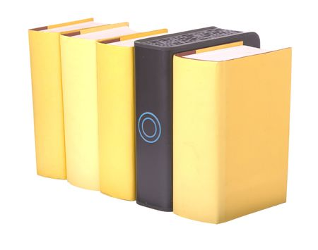 hardback: Row of yellow hardback books with a computer hard drive