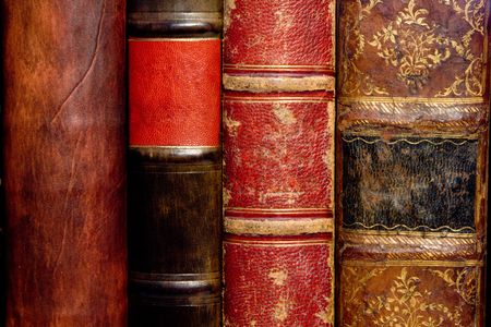 book spines: Old leather bound book spines  Stock Photo