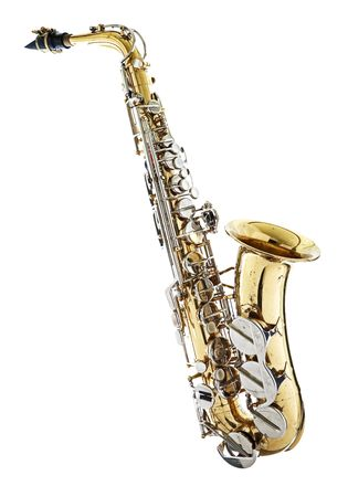 saxophone: Saxophone isolated against a white background Stock Photo