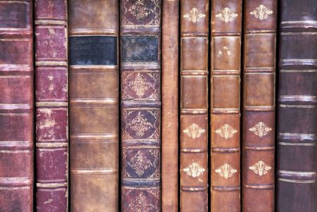 book spines: A row of old leather bound book spines