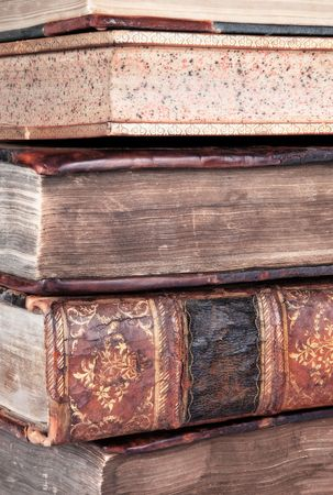 Detail of a pile of old leather bound books Stock Photo - 8145855