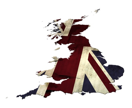 Union Jack flag overlaid on an outline of a map of the United Kingdom (less Northern Ireland).  Various elements have been added to create a grunge effect.  3D effects have been added to this image. photo