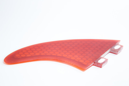 surfboard fin: red fin part for water sport Archivio Fotografico