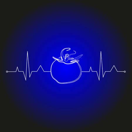 vegetables on cardiogram heart shape for health care.