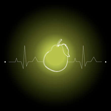 fruits on a cardiogram in the shape of a heart for health care. illustration pear