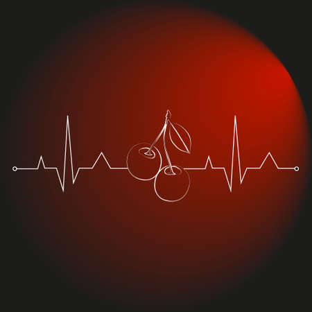 berries on a cardiogram in the shape of a heart for health care. vector illustration. cherry