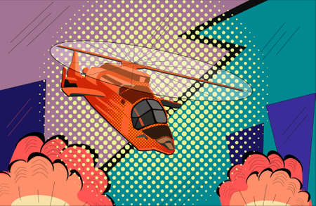 helicopter pop art style. Hand drawn comic book imitation vector illustration Vetores