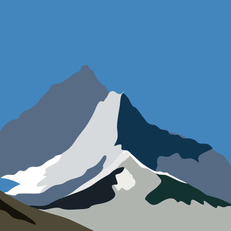 vector illustration of mountains, peak covered with snow Ilustrace