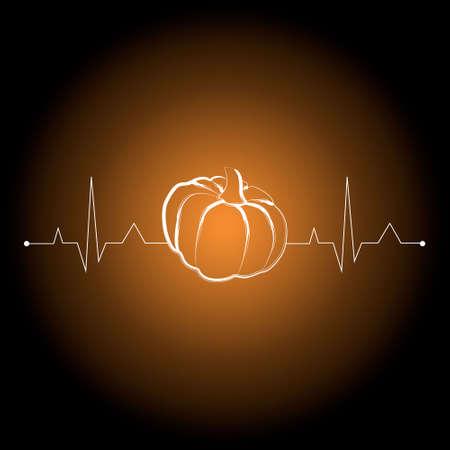 vegetables on cardiogram heart shape for health care. vector illustration. pumpkin Ilustração Vetorial