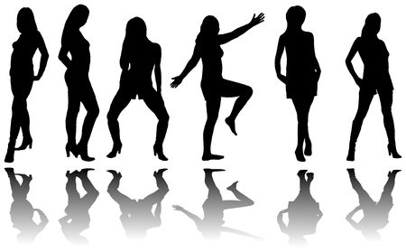 six girls: Silhouette of six girls with reflection on a white background