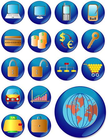 agenda electr�nica: El icono de la web. Vector de imagen. 17 bot�n.  Vectores
