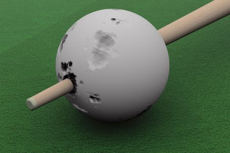 punched through: Old billiard ball punched cue. 3D image. Stock Photo