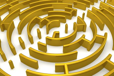 straight path: The gold labyrinth with reflection. 3D image.