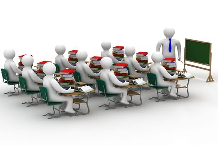 university classroom: Lesson in a school class. Isolated 3D image.