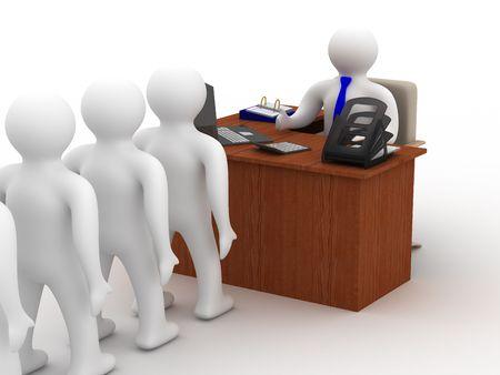 bureaucrat: Office life. 3D image on white background Stock Photo