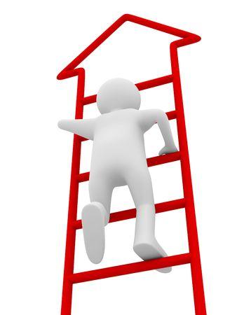 drabiny: Mężczyzna upstairs przeprowadza się na białym tle. Izolowane obrazu 3D