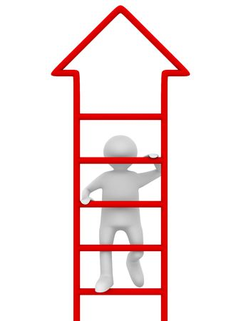 ladder of success: man walks upstairs on white background. Isolated 3D image
