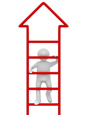 clamber: uomo cammina al primo piano su sfondo bianco. Immagine 3D isolato Archivio Fotografico