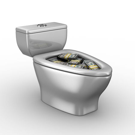 urinal: Toilet bowl full of money. Isolated 3D image