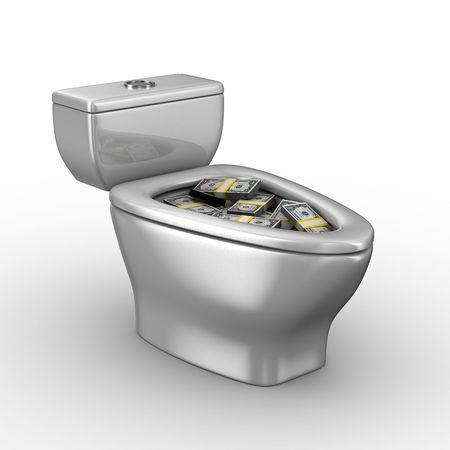 latrina: WC ciotola piena di soldi. Immagine 3D isolato Archivio Fotografico