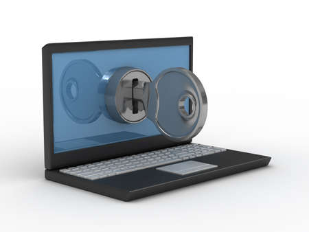 email security: laptop and key on white background. Isolated 3D image Stock Photo